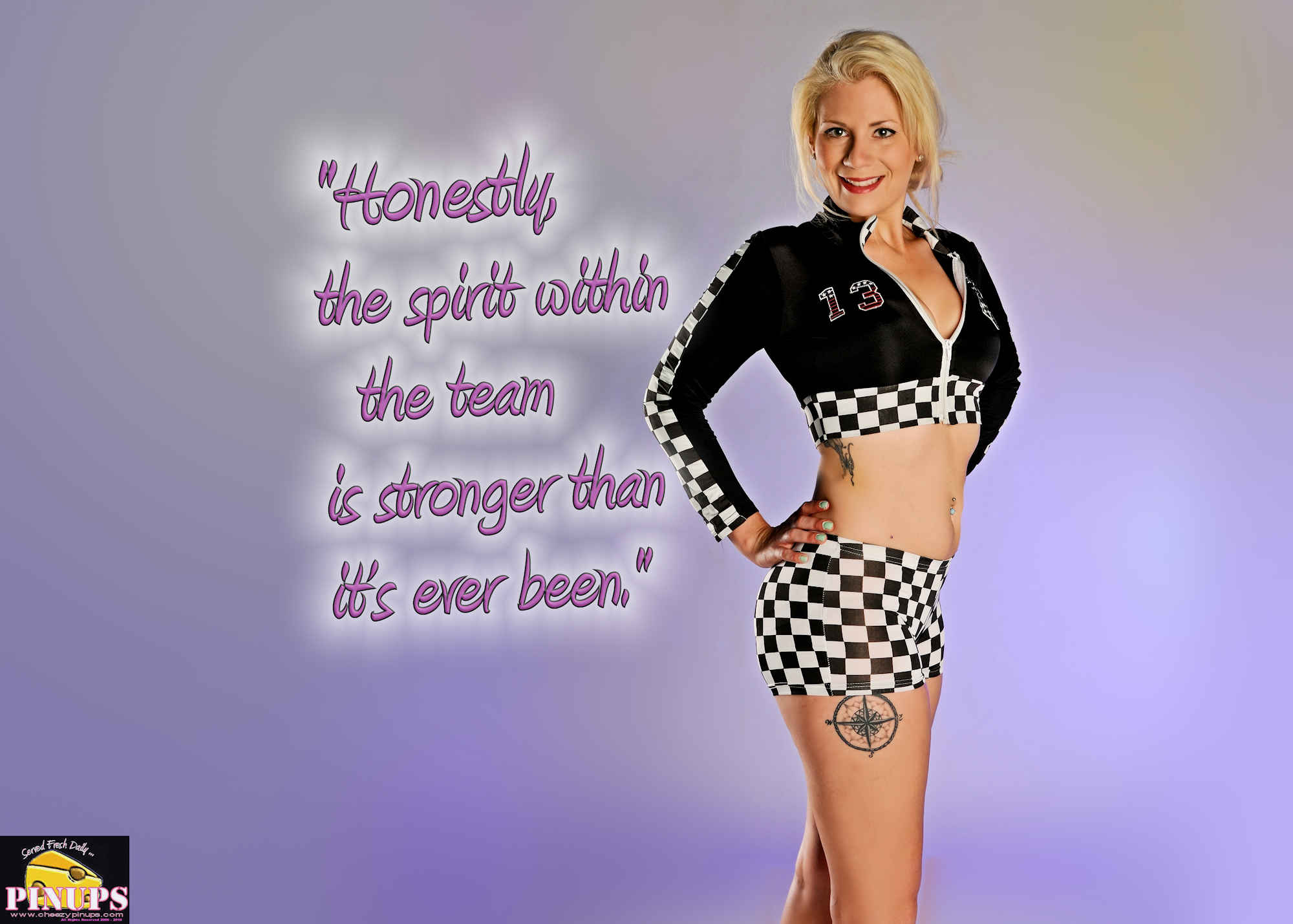 "Cheezy Pinup - June 8, 2018 ""Honestly, the spirit within the team is stronger than it's ever been."" - Lewis Hamilton Model: Nicole"
