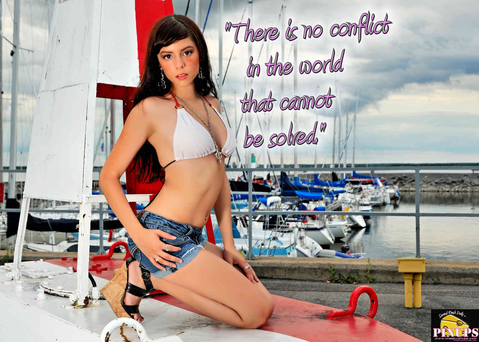 "Cheezy Pinup - August 14, 2018   ""There is no conflict in the world that cannot be solved."" - Jonathan Powell Model: CarolAnn"