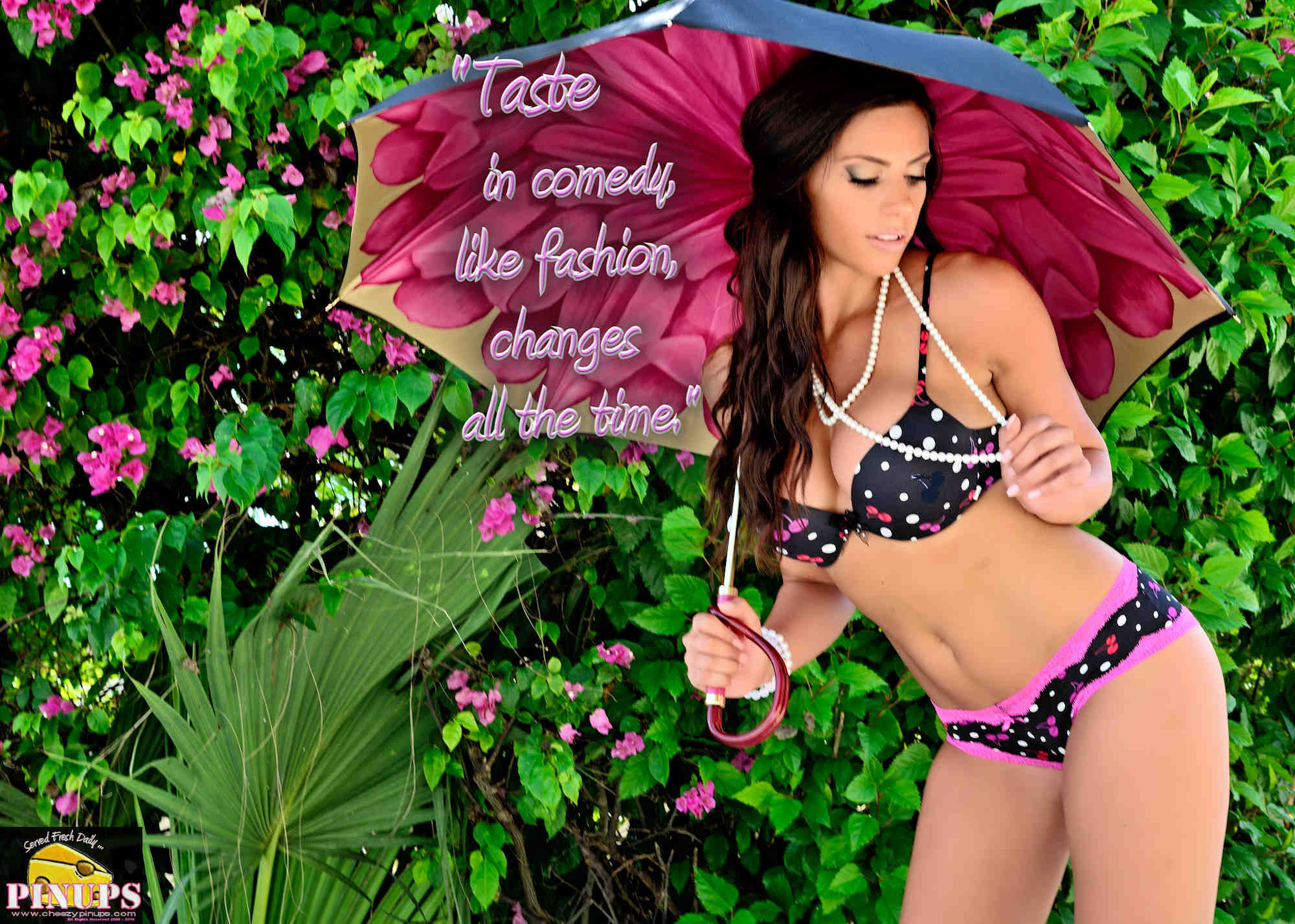 """Cheezy Pinup - August 16, 2018   """"Taste in comedy, like fashion, changes all the time."""" - @SteveCarell Model: @MissKaraCooper"""