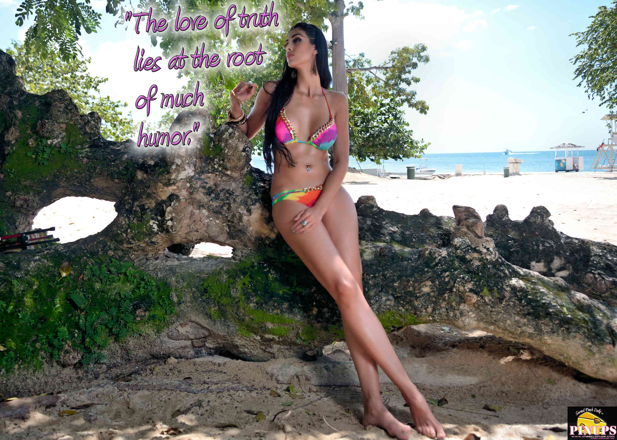 """Cheezy Pinup - August 28, 2018   """"The love of truth lies at the root of much humor."""" - Robertson Davies Model: @FarinaChaparro"""