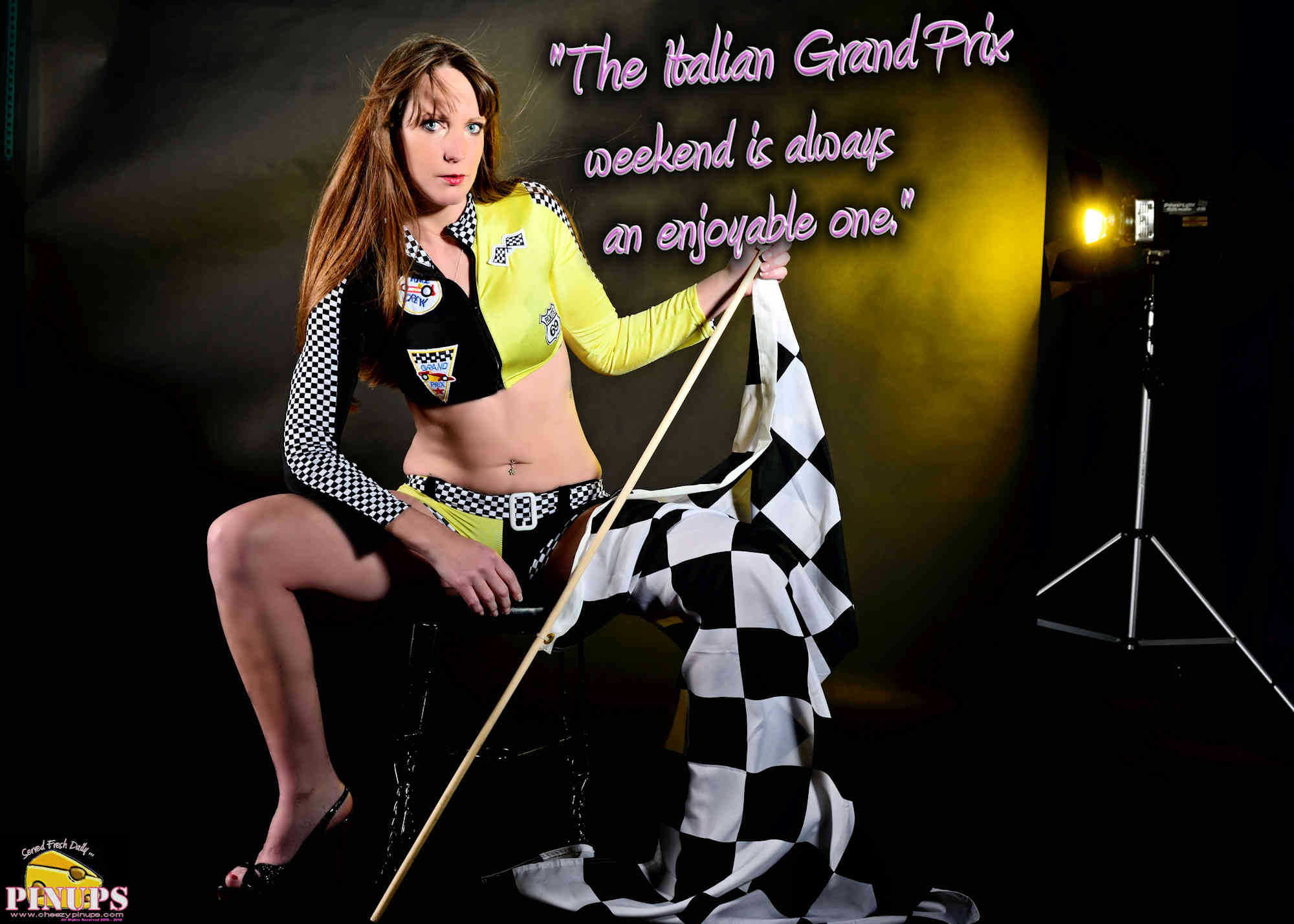 "Cheezy Pinup - September 2, 2018   ""The Italian Grand Prix weekend is always an enjoyable one."" - Carlos Sainz Model: Kristen"