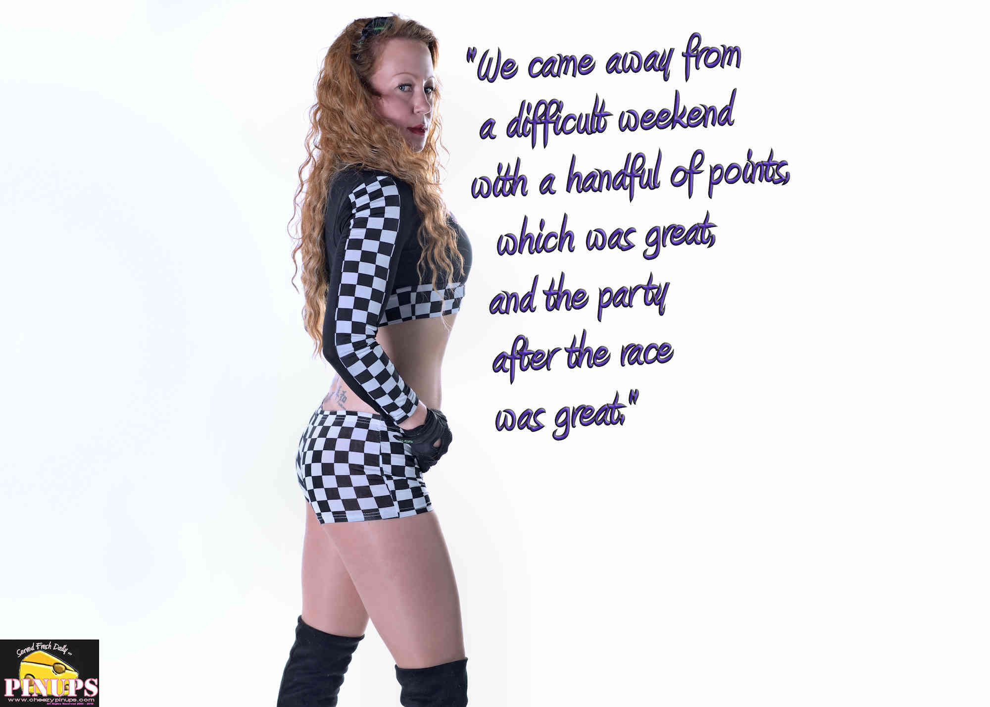 "Cheezy Pinup - September 16, 2018 ""We came away from a difficult weekend with a handful of points, which was great, and the party after the race was great."" - Lance Stroll Model: Emily"