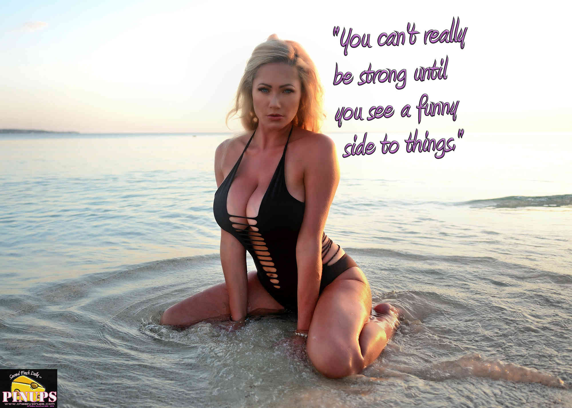 """Cheezy Pinup - September 17, 2018     """"You can't really be strong until you see a funny side to things."""" - Ken Kesey Model: Jess"""