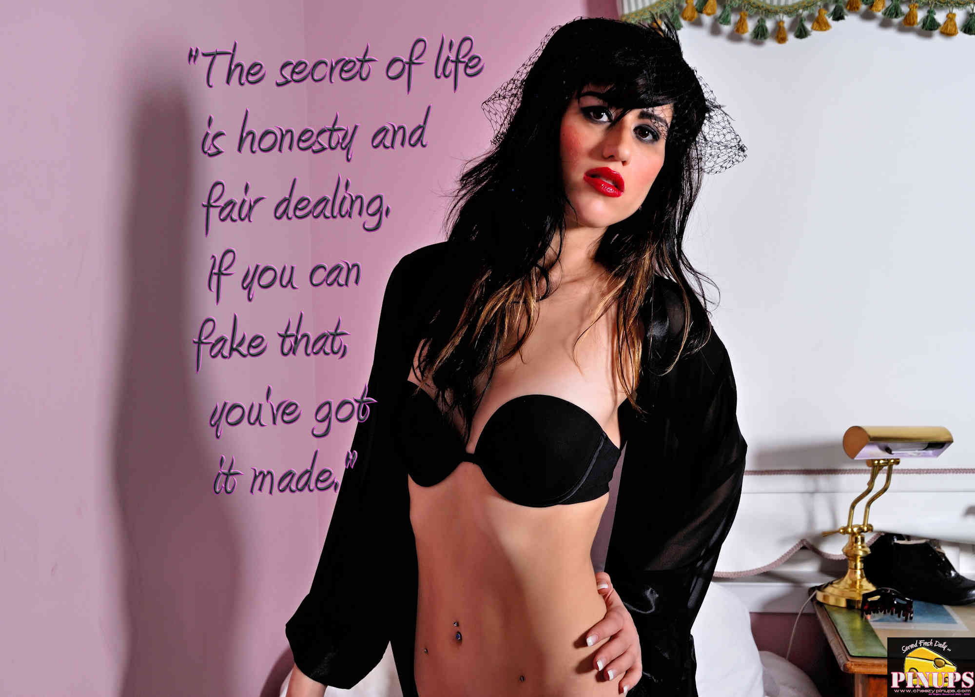 """Cheezy Pinup - October 2, 2018   """"The secret of life is honesty and fair dealing. If you can fake that, you've got it made."""" - Groucho Marx Model: Maria"""