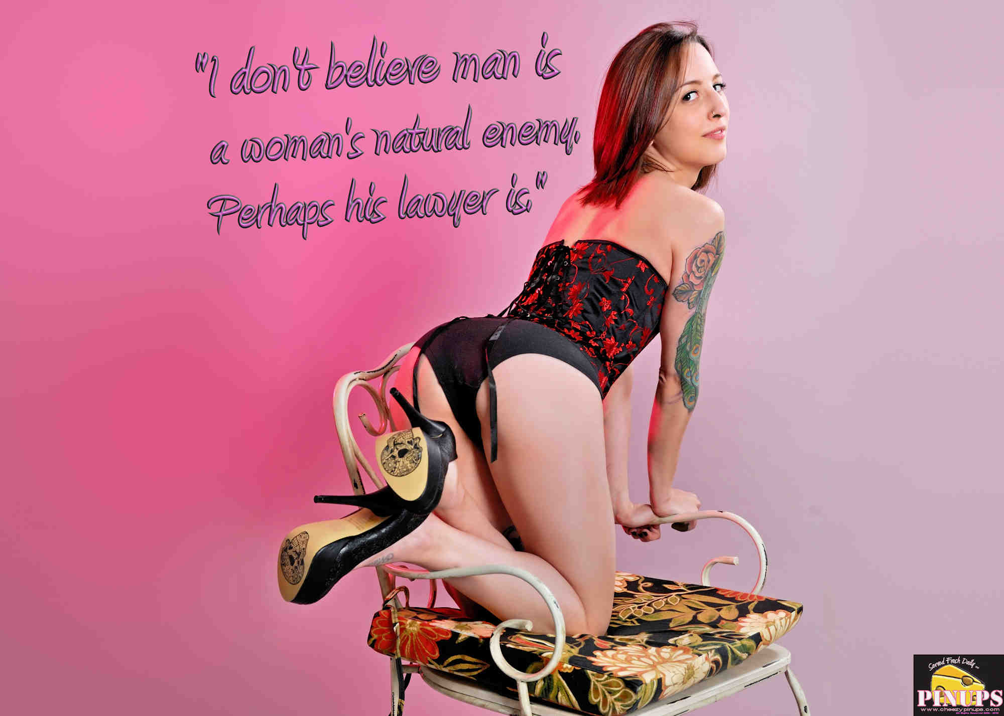 "Cheezy Pinup - October 6, 2018 ""I don't believe man is a woman's natural enemy. Perhaps his lawyer is."" - Shana Alexander Model: Hazel"