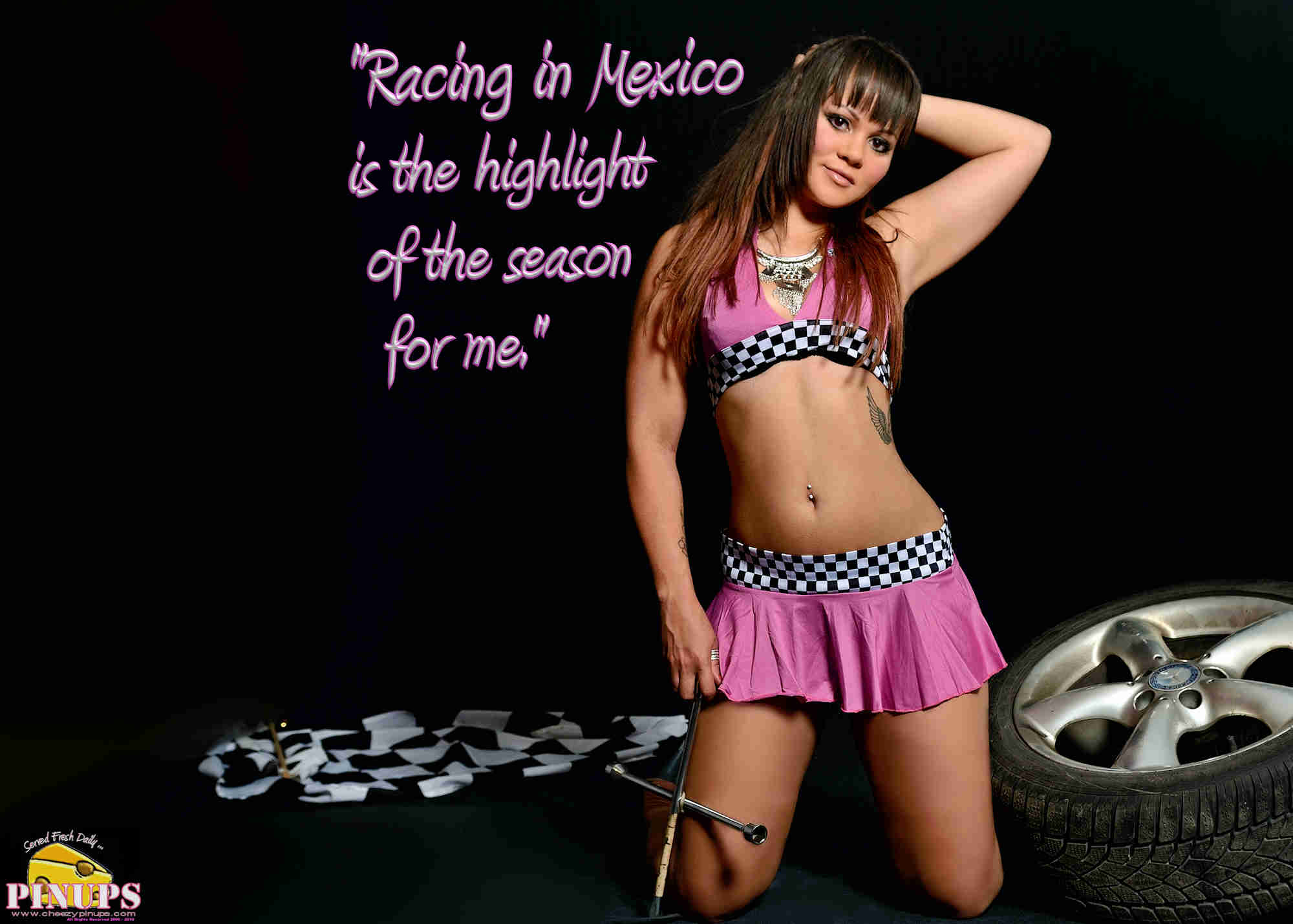 "Cheezy Pinup - October 28, 2018   ""Racing in Mexico is the highlight of the season for me."" - Sergio Perez Model: Shanelle"