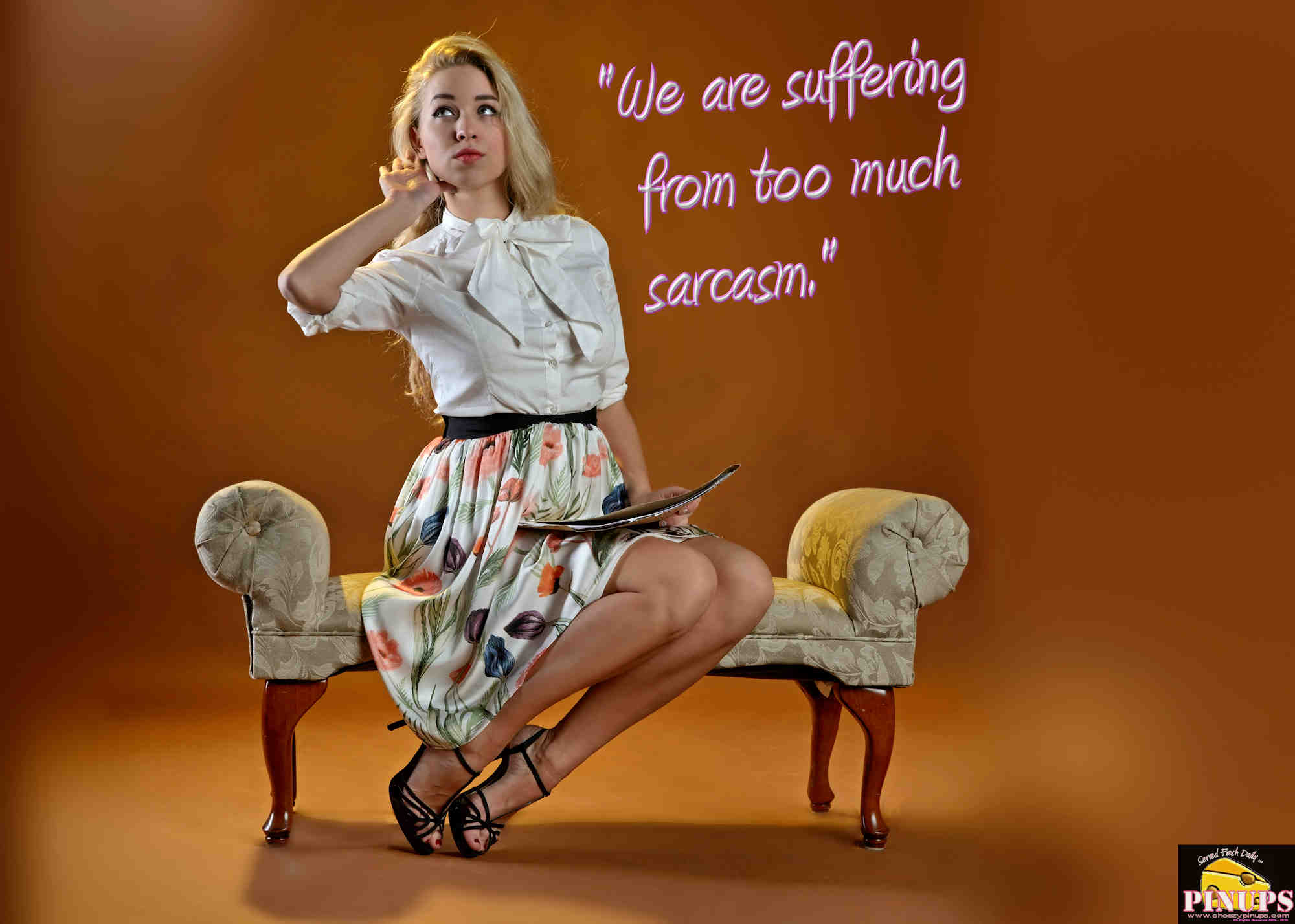 "Cheezy Pinup - November 15, 2018   ""We are suffering from too much sarcasm."" - Marianne Moore Model: Elizabeth"