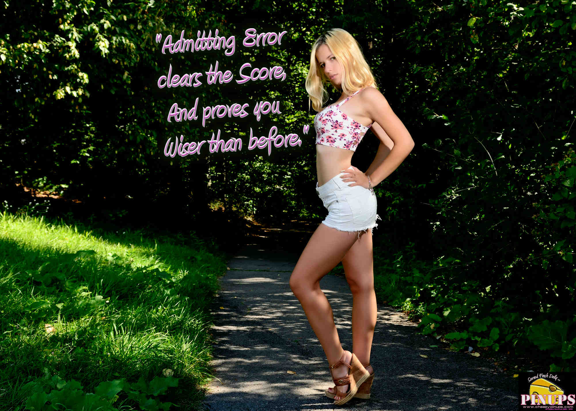 "Cheezy Pinup - November 20, 2018 ""Admitting Error clears the Score, And proves you Wiser than before."" - Arthur Guiterman Model: Cristiana"