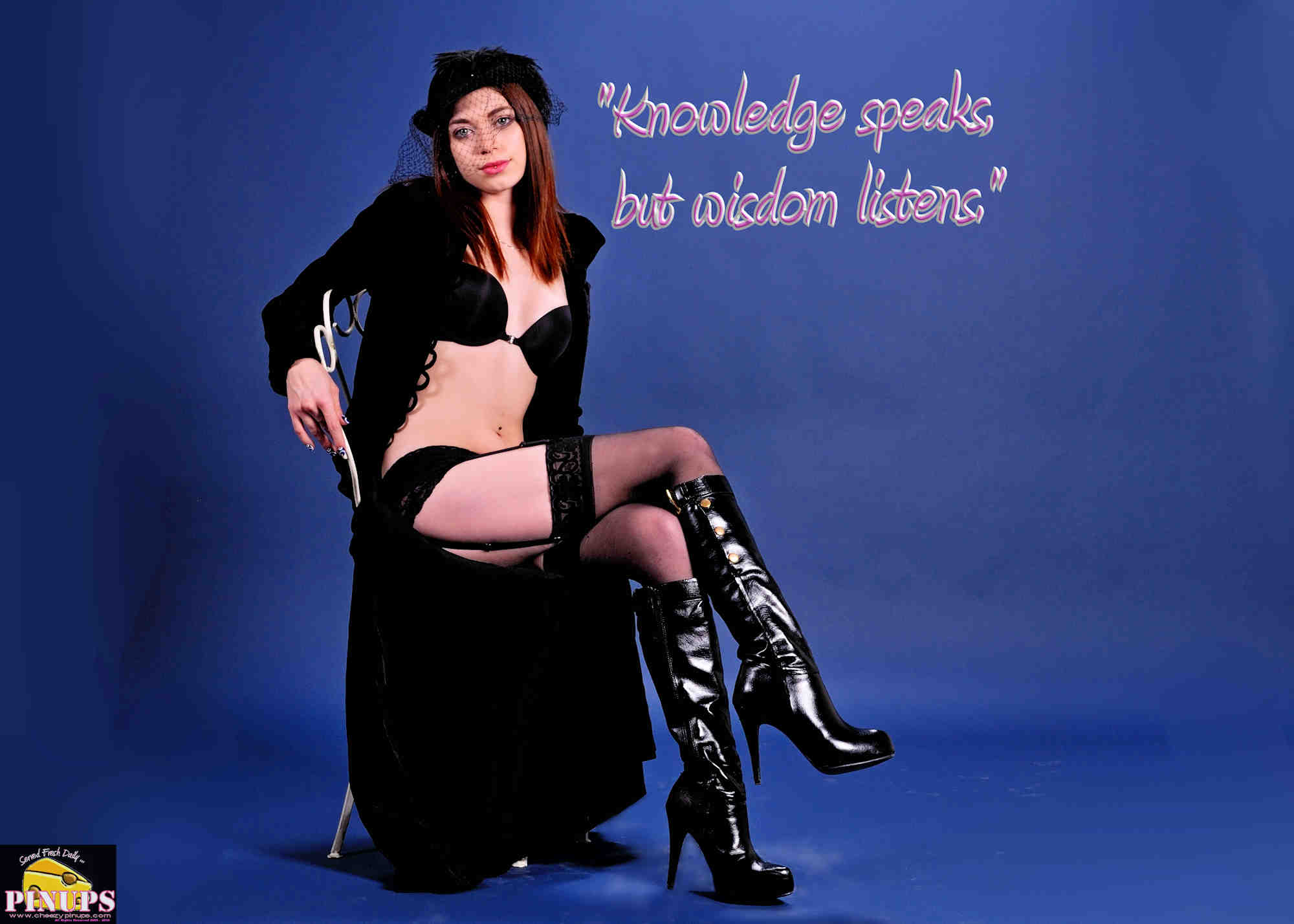 "Cheezy Pinup - November 27, 2018   ""Knowledge speaks, but wisdom listens."" - Jimi Hendrix Model: Meaghan"
